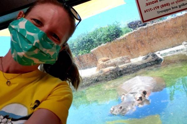 Volunteer Kelley with hippo